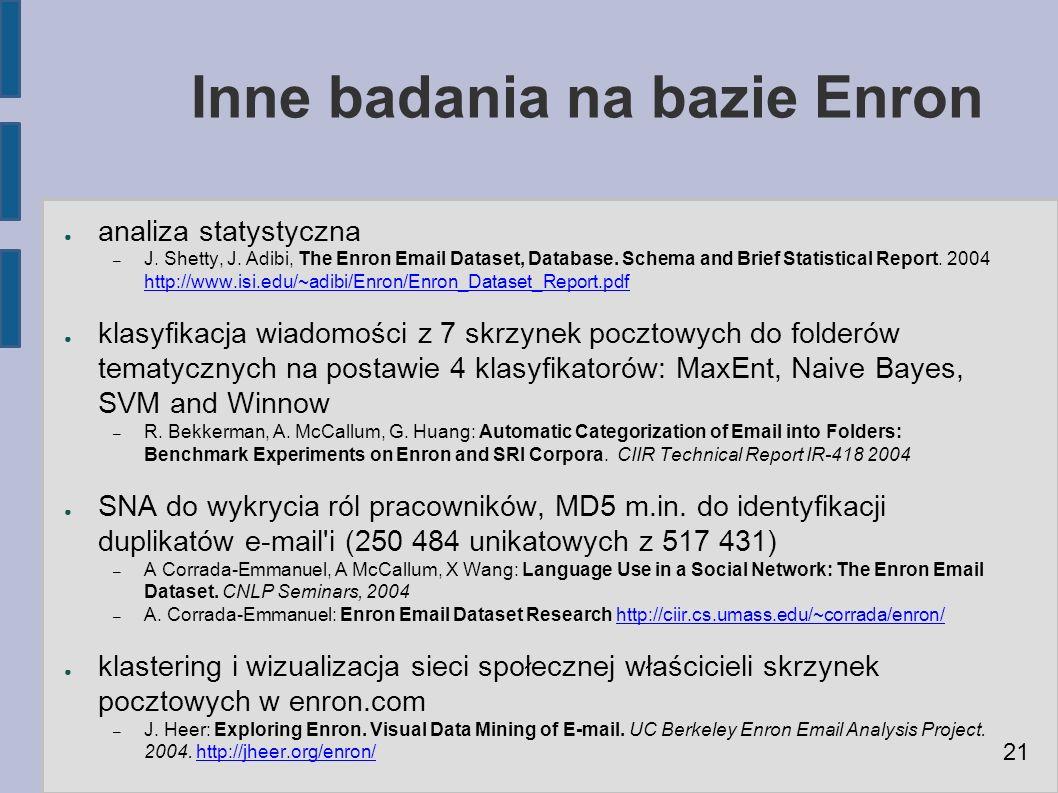Inne badania na bazie Enron ● analiza statystyczna – J.