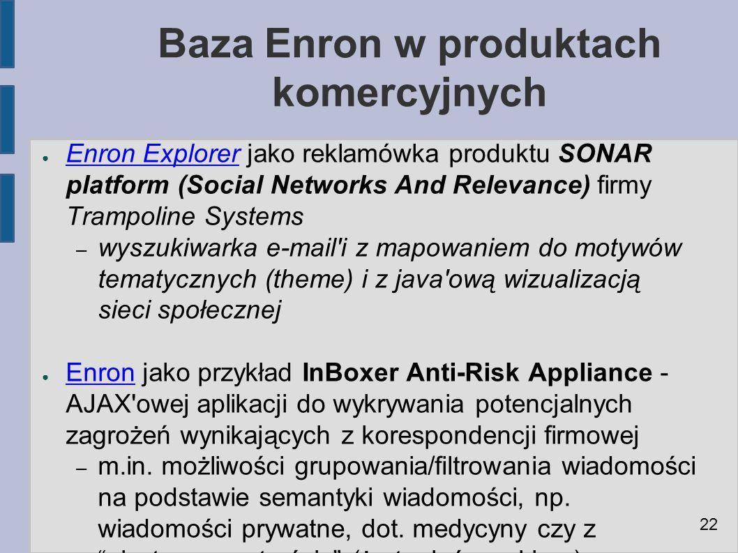 Baza Enron w produktach komercyjnych ● Enron Explorer jako reklamówka produktu SONAR platform (Social Networks And Relevance) firmy Trampoline Systems Enron Explorer – wyszukiwarka e-mail i z mapowaniem do motywów tematycznych (theme) i z java ową wizualizacją sieci społecznej ● Enron jako przykład InBoxer Anti-Risk Appliance - AJAX owej aplikacji do wykrywania potencjalnych zagrożeń wynikających z korespondencji firmowej Enron – m.in.