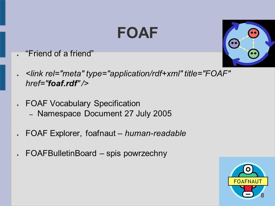 """FOAF ● """"Friend of a friend"""" ● ● FOAF Vocabulary Specification – Namespace Document 27 July 2005 ● FOAF Explorer, foafnaut – human-readable ● FOAFBulle"""