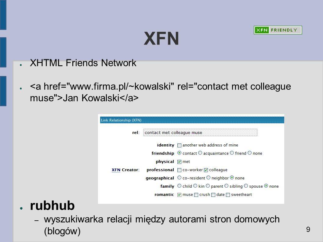 XFN ● XHTML Friends Network ● Jan Kowalski ● rubhub – wyszukiwarka relacji między autorami stron domowych (blogów) 9