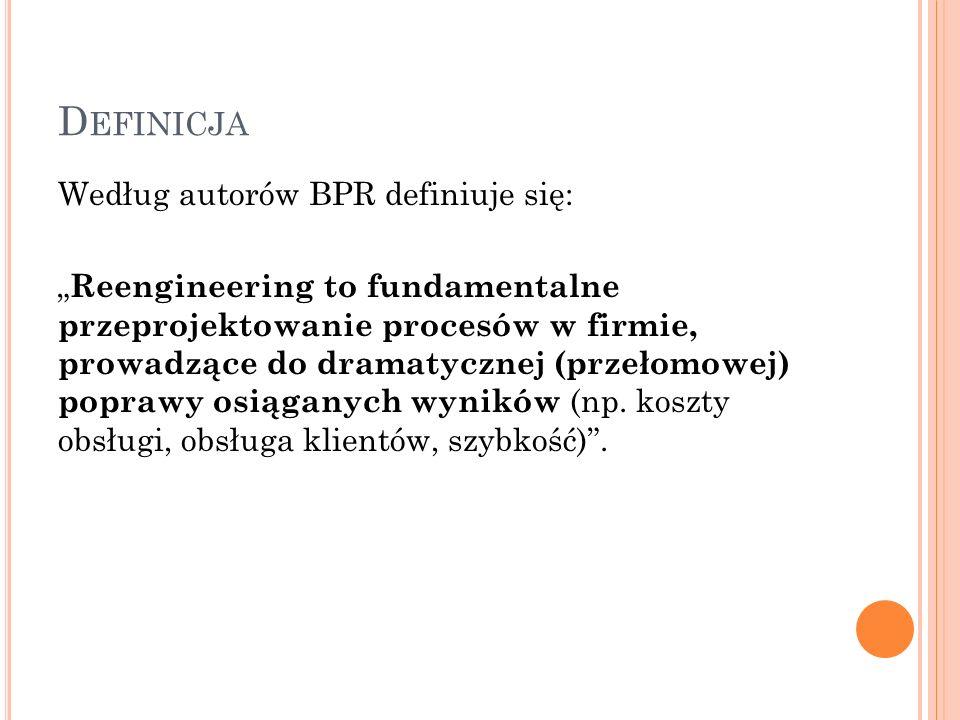 """D EFINICJA Według autorów BPR definiuje się: """" Reengineering to fundamentalne przeprojektowanie procesów w firmie, prowadzące do dramatycznej (przełomowej) poprawy osiąganych wyników (np."""