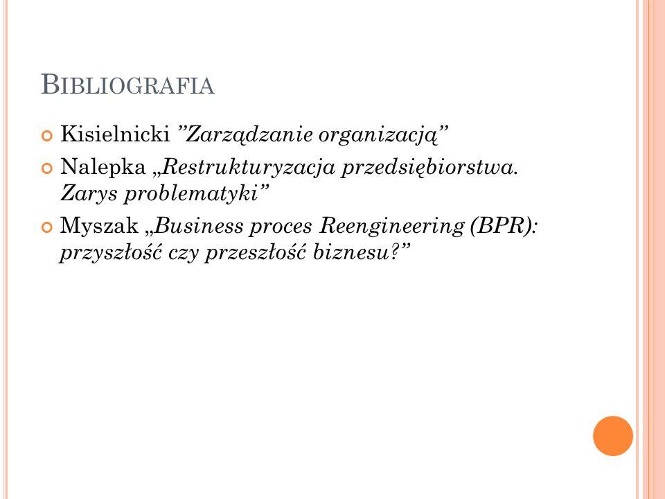 """B IBLIOGRAFIA Kisielnicki ''Zarządzanie organizacją'' Nalepka """" Restrukturyzacja przedsiębiorstwa."""