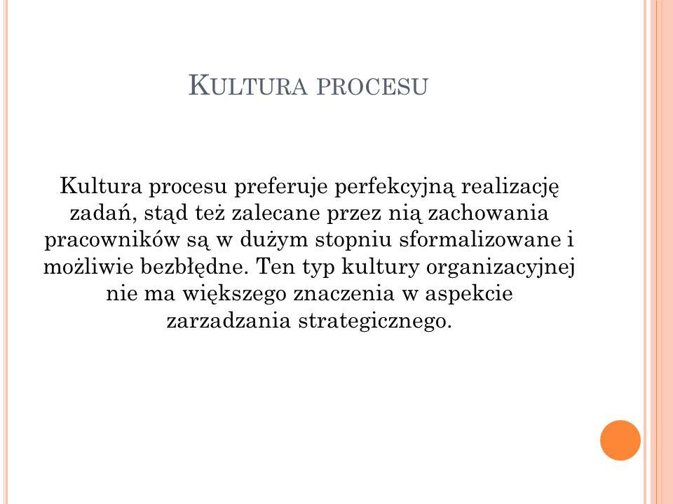 K ULTURA PROCESU Kultura procesu preferuje perfekcyjną realizację zadań, stąd też zalecane przez nią zachowania pracowników są w dużym stopniu sformalizowane i możliwie bezbłędne.