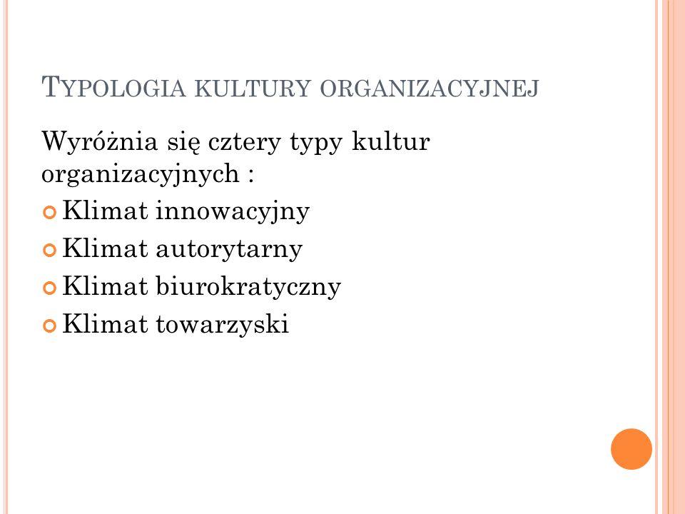 T YPOLOGIA KULTURY ORGANIZACYJNEJ Wyróżnia się cztery typy kultur organizacyjnych : Klimat innowacyjny Klimat autorytarny Klimat biurokratyczny Klimat towarzyski