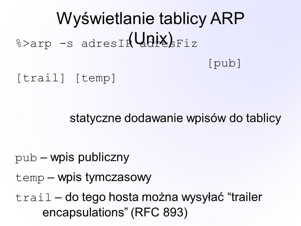 Wyświetlanie tablicy ARP (Unix) %>arp -s adresIP adresFiz [pub] [trail] [temp] statyczne dodawanie wpisów do tablicy pub – wpis publiczny temp – wpis tymczasowy trail – do tego hosta można wysyłać trailer encapsulations (RFC 893)