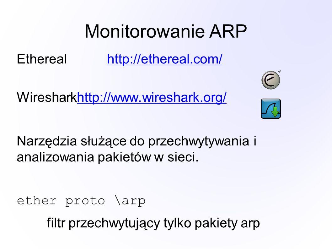 Monitorowanie ARP Etherealhttp://ethereal.com/http://ethereal.com/ Wiresharkhttp://www.wireshark.org/http://www.wireshark.org/ Narzędzia służące do pr