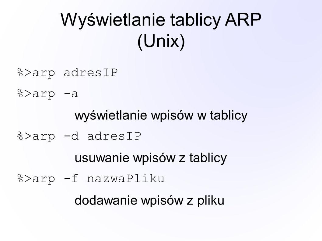 Wyświetlanie tablicy ARP (Unix) %>arp adresIP %>arp -a wyświetlanie wpisów w tablicy %>arp -d adresIP usuwanie wpisów z tablicy %>arp -f nazwaPliku dodawanie wpisów z pliku