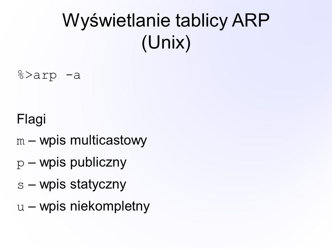 Wyświetlanie tablicy ARP (Unix) %>arp -a Flagi m – wpis multicastowy p – wpis publiczny s – wpis statyczny u – wpis niekompletny