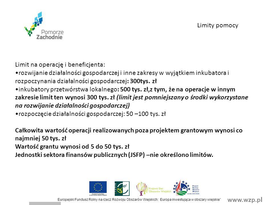 www.wzp.p l Europejski Fundusz Rolny na rzecz Rozwoju Obszarów Wiejskich: Europa inwestująca w obszary wiejskie Limity pomocy Limit na operację i beneficjenta: rozwijanie działalności gospodarczej i inne zakresy w wyjątkiem inkubatora i rozpoczynania działalności gospodarczej: 300tys.