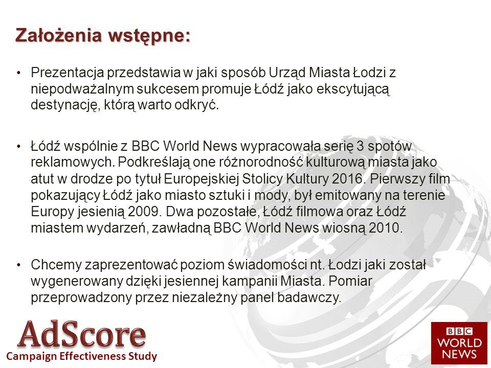 Campaign Effectiveness Study Prezentacja przedstawia w jaki sposób Urząd Miasta Łodzi z niepodważalnym sukcesem promuje Łódź jako ekscytującą destynację, którą warto odkryć.