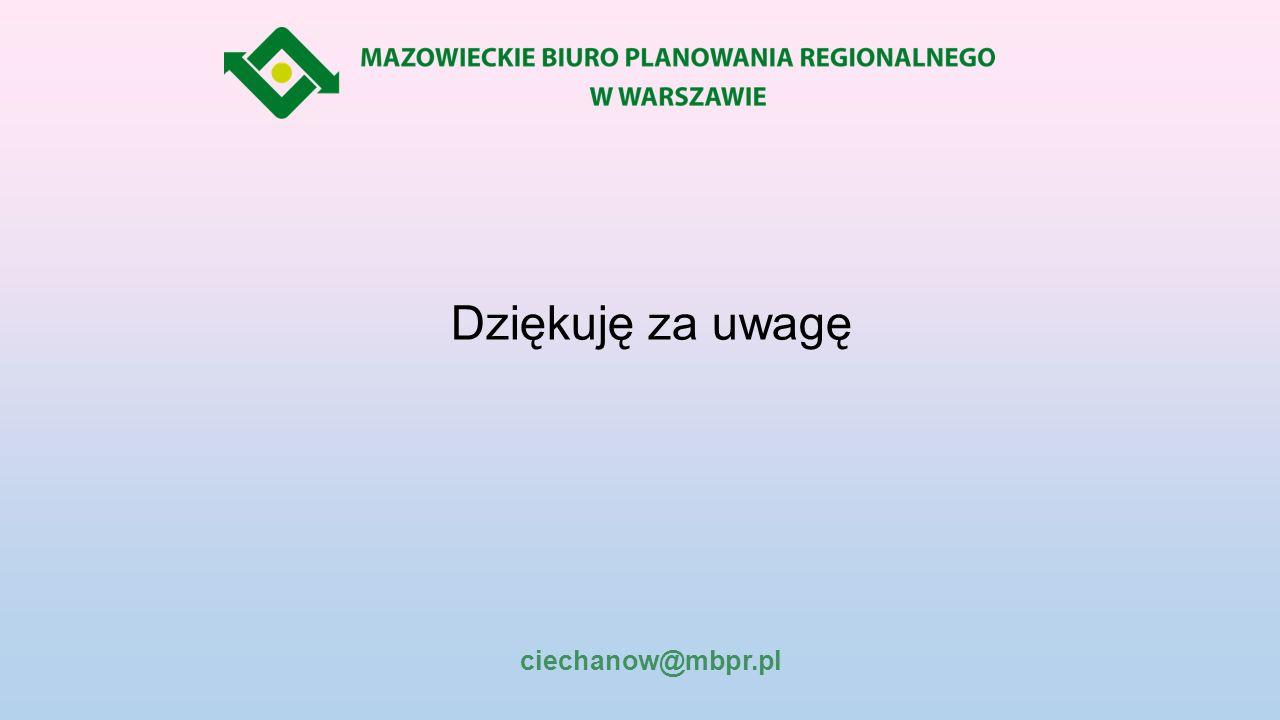 Dziękuję za uwagę ciechanow@mbpr.pl