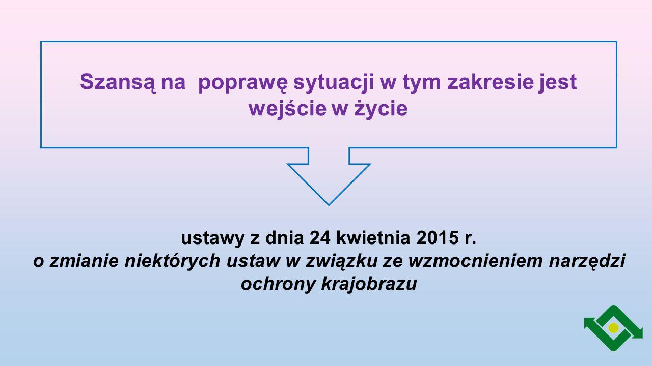 Potrzeba wdrożenia ustawy krajobrazowej Praktyczna Formalna nieskuteczna ochrona cennych obszarów przed zabudową powstawanie obiektów budowlanych niezharmonizowanych z otoczeniem chaos reklamowy w miastach i przy drogach wdrożenie do polskiego porządku prawnego zapisów Europejskiej Konwencji Krajobrazowej