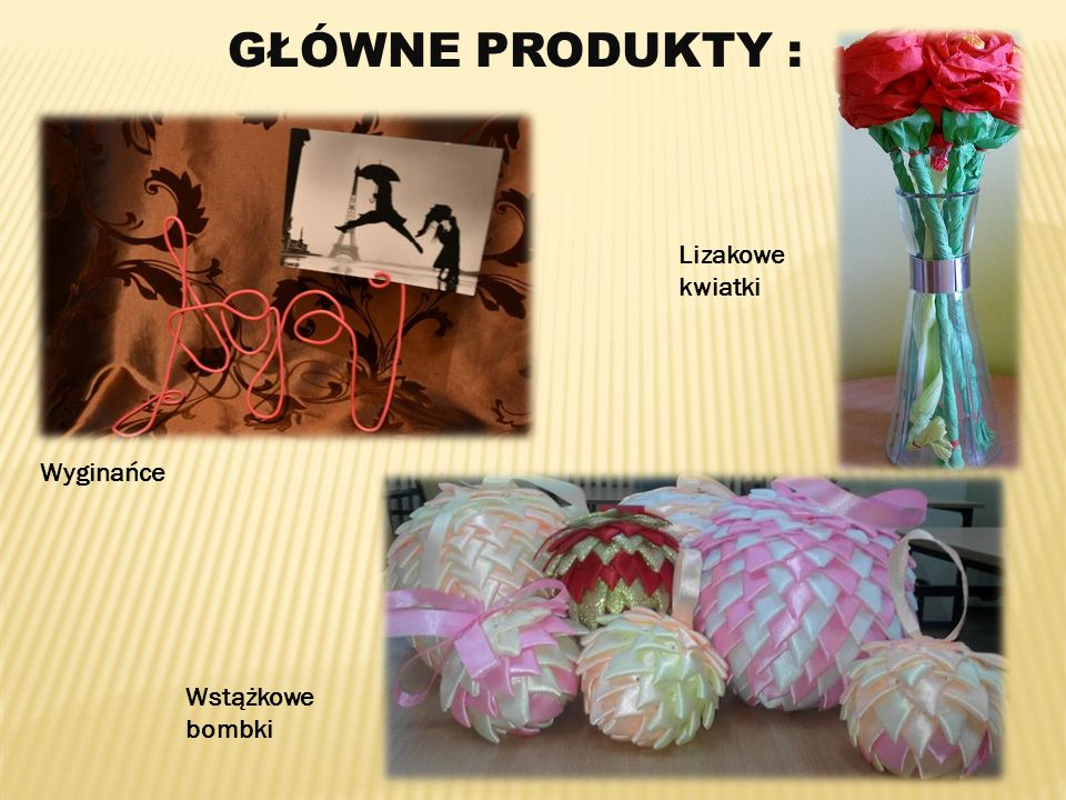 GŁÓWNE PRODUKTY : Wyginańce Wstążkowe bombki Lizakowe kwiatki