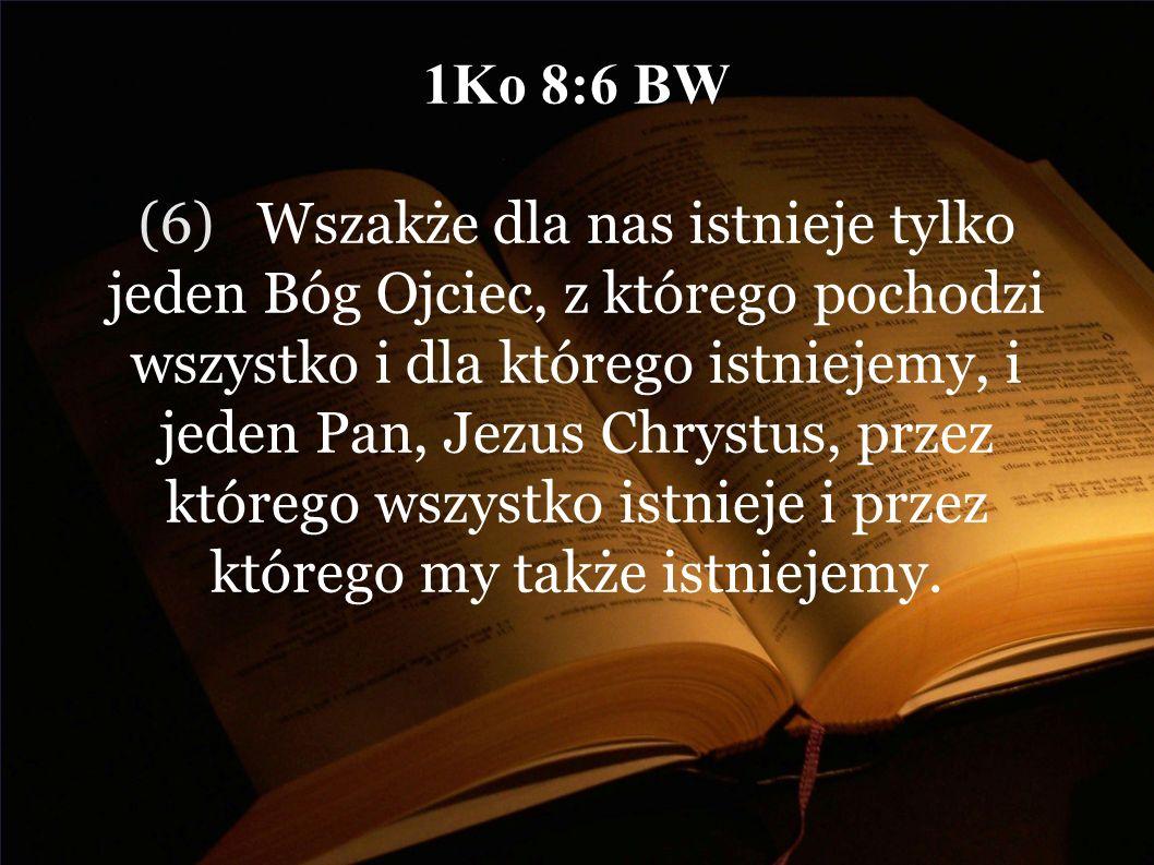1Ko 8:6 BW (6) Wszakże dla nas istnieje tylko jeden Bóg Ojciec, z którego pochodzi wszystko i dla którego istniejemy, i jeden Pan, Jezus Chrystus, prz