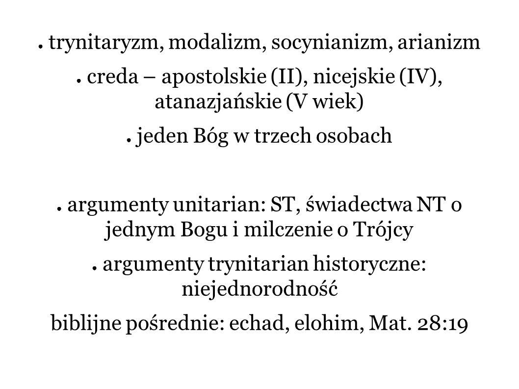 ● trynitaryzm, modalizm, socynianizm, arianizm ● creda – apostolskie (II), nicejskie (IV), atanazjańskie (V wiek) ● jeden Bóg w trzech osobach ● argum