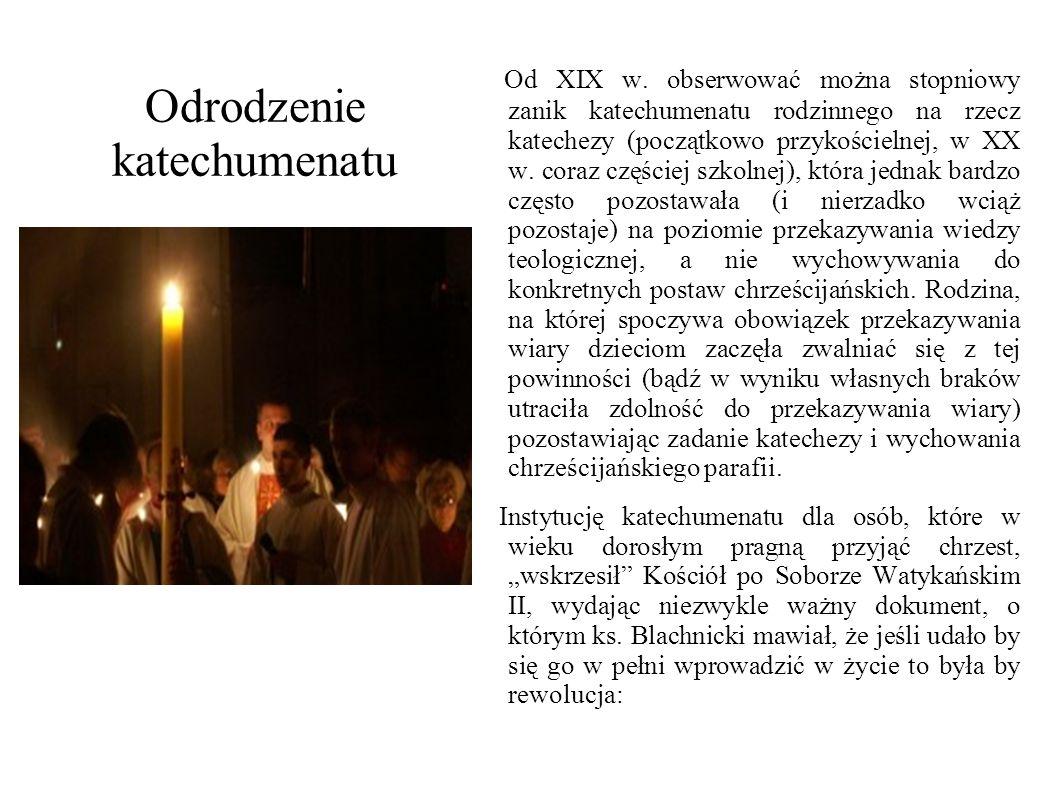 Odrodzenie katechumenatu Od XIX w. obserwować można stopniowy zanik katechumenatu rodzinnego na rzecz katechezy (początkowo przykościelnej, w XX w. co
