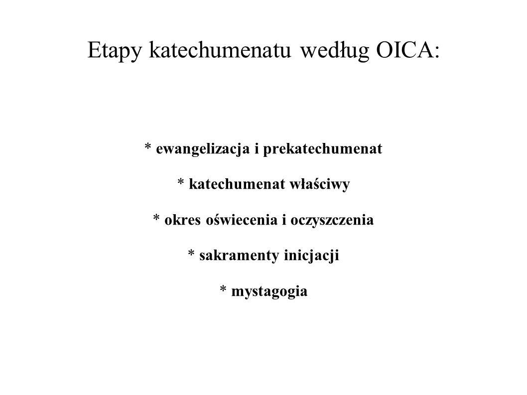 Etapy katechumenatu według OICA: * ewangelizacja i prekatechumenat * katechumenat właściwy * okres oświecenia i oczyszczenia * sakramenty inicjacji *