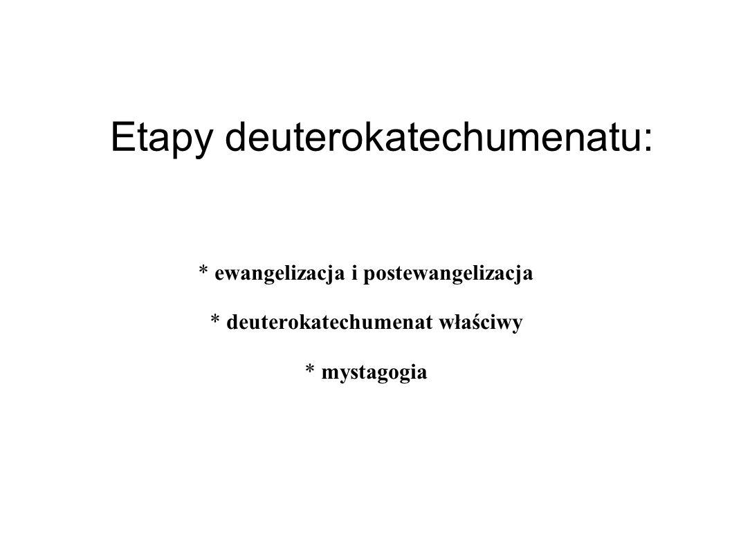 Etapy deuterokatechumenatu: * ewangelizacja i postewangelizacja * deuterokatechumenat właściwy * mystagogia