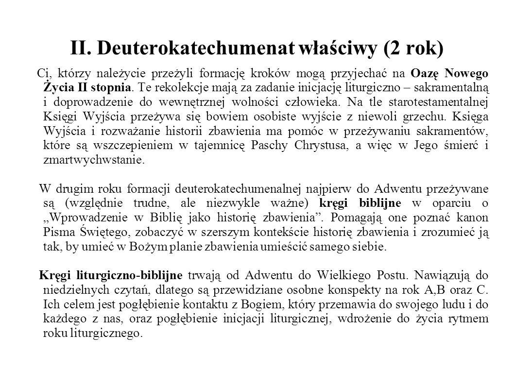 II. Deuterokatechumenat właściwy (2 rok) Ci, którzy należycie przeżyli formację kroków mogą przyjechać na Oazę Nowego Życia II stopnia. Te rekolekcje