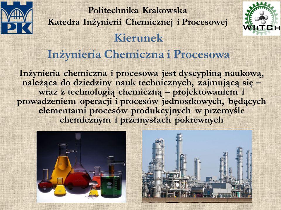 Politechnika Krakowska Katedra Inżynierii Chemicznej i Procesowej Kierunek Inżynieria Chemiczna i Procesowa Inżynieria chemiczna i procesowa jest dyscypliną naukową, należąca do dziedziny nauk technicznych, zajmującą się – wraz z technologią chemiczną – projektowaniem i prowadzeniem operacji i procesów jednostkowych, będących elementami procesów produkcyjnych w przemyśle chemicznym i przemysłach pokrewnych