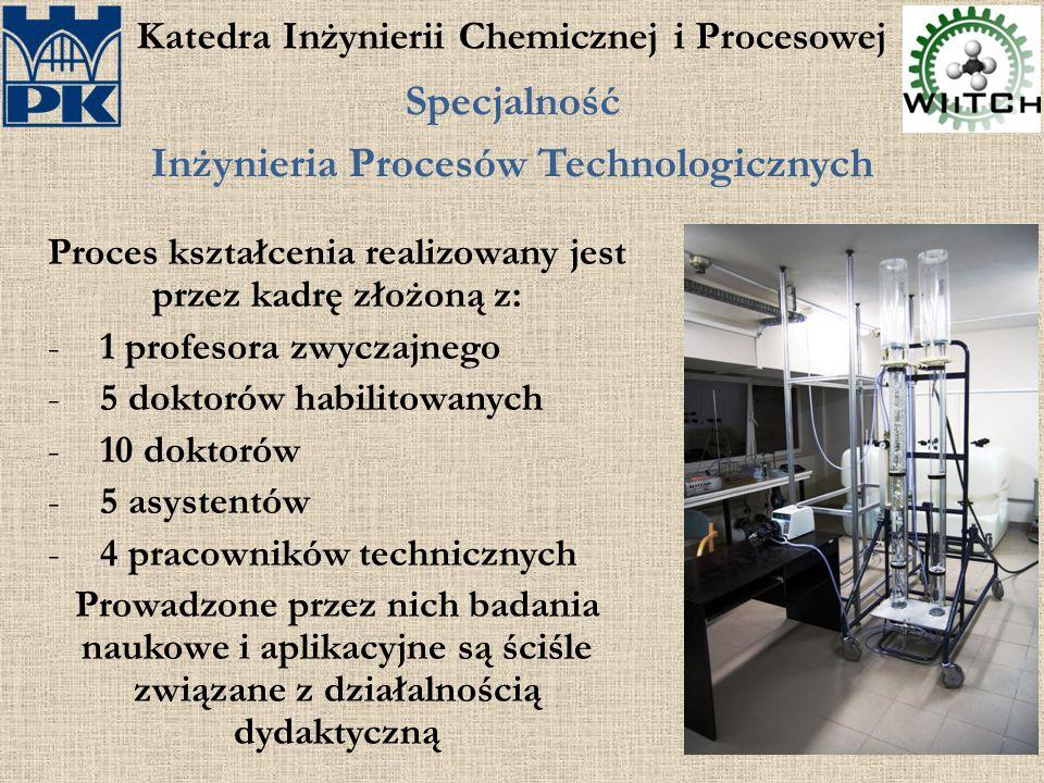 Katedra Inżynierii Chemicznej i Procesowej Specjalność Inżynieria Procesów Technologicznych Proces kształcenia realizowany jest przez kadrę złożoną z: -1 profesora zwyczajnego -5 doktorów habilitowanych -10 doktorów -5 asystentów -4 pracowników technicznych Prowadzone przez nich badania naukowe i aplikacyjne są ściśle związane z działalnością dydaktyczną
