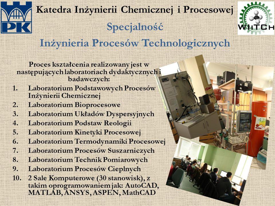 Katedra Inżynierii Chemicznej i Procesowej Specjalność Inżynieria Procesów Technologicznych Proces kształcenia realizowany jest w następujących labora