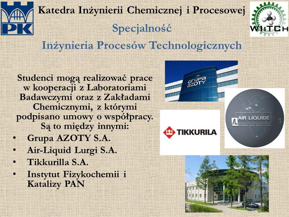 Katedra Inżynierii Chemicznej i Procesowej Specjalność Inżynieria Procesów Technologicznych Studenci mogą realizować prace w kooperacji z Laboratoriam