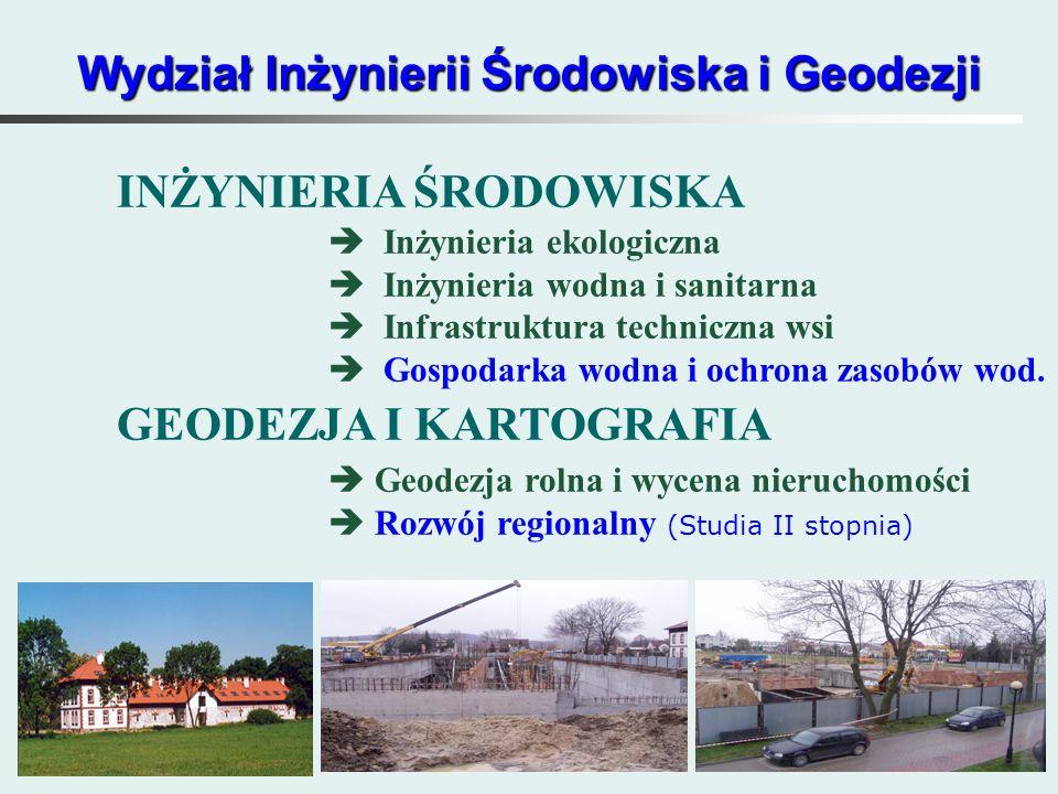 Wydział Inżynierii Środowiska i Geodezji INŻYNIERIA ŚRODOWISKA  Inżynieria ekologiczna  Inżynieria wodna i sanitarna  Infrastruktura techniczna wsi  Gospodarka wodna i ochrona zasobów wod.