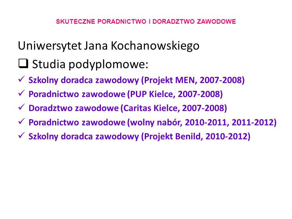SKUTECZNE PORADNICTWO I DORADZTWO ZAWODOWE Uniwersytet Jana Kochanowskiego  Studia podyplomowe: Szkolny doradca zawodowy (Projekt MEN, 2007-2008) Poradnictwo zawodowe (PUP Kielce, 2007-2008) Doradztwo zawodowe (Caritas Kielce, 2007-2008) Poradnictwo zawodowe (wolny nabór, 2010-2011, 2011-2012) Szkolny doradca zawodowy (Projekt Benild, 2010-2012)