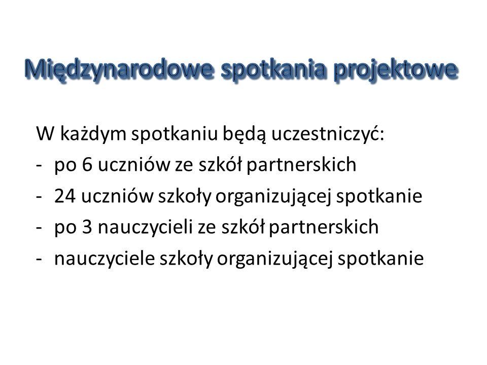 Równocześnie w danej szkole będą odbywać się: 1)spotkanie koordynatorów 2)wymiana uczniów 3)szkolenie w zakresie problematyki danego projektu