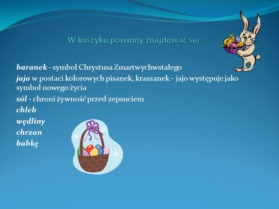 baranek - symbol Chrystusa Zmartwychwstałego jaja w postaci kolorowych pisanek, kraszanek - jajo występuje jako symbol nowego życia sól - chroni żywność przed zepsuciem chleb wędliny chrzan babkę