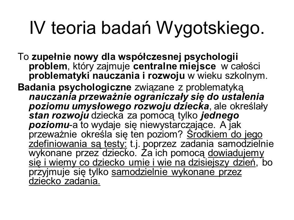 IV teoria badań Wygotskiego.