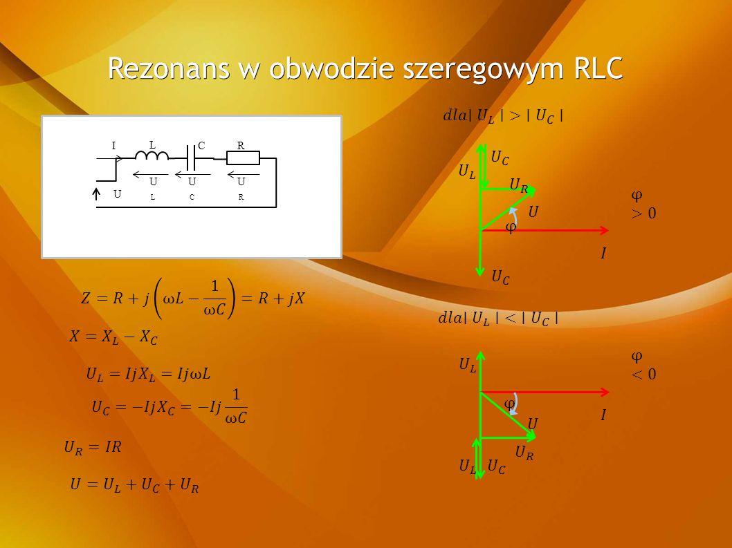 Rezonans w obwodzie szeregowym RLC U RCI L ULUL UCUC URUR