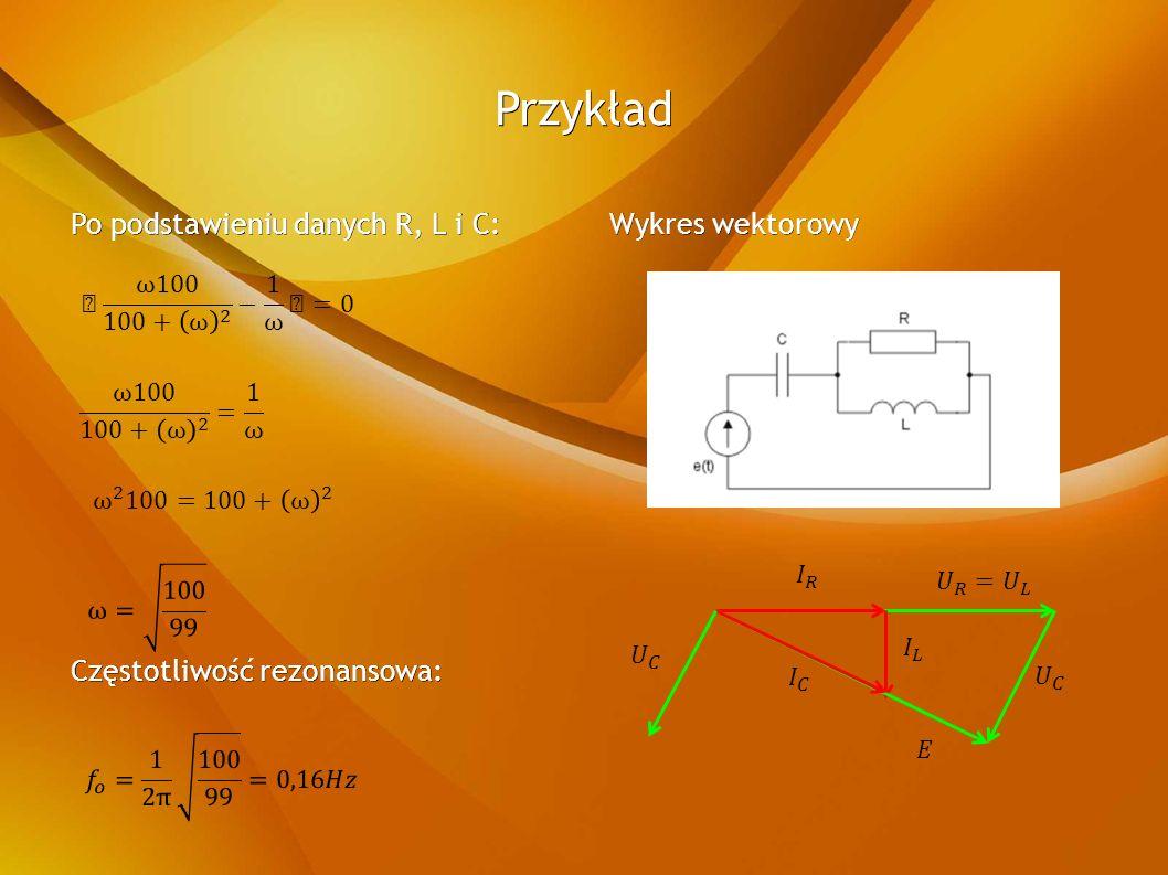 Przykład Po podstawieniu danych R, L i C: Częstotliwość rezonansowa: Wykres wektorowy