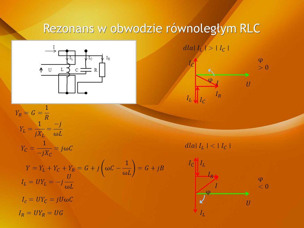 Rezonans w obwodzie równoległym RLC URC I L ILIL ICIC IRIR