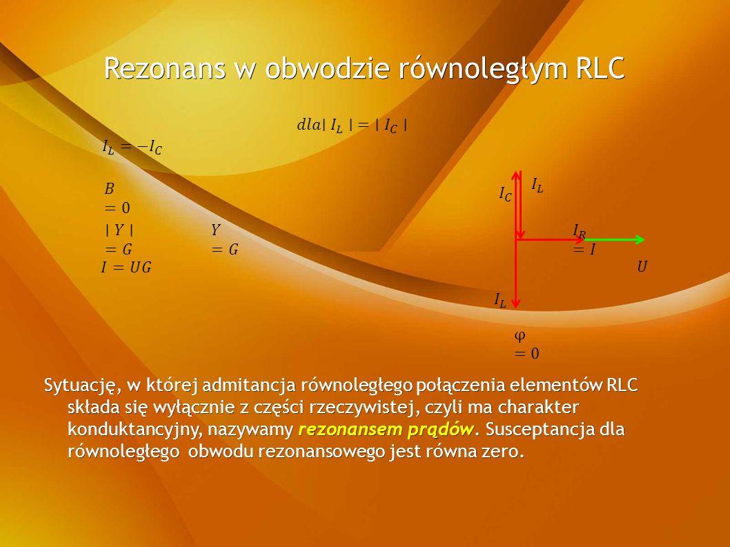Sytuację, w której admitancja równoległego połączenia elementów RLC składa się wyłącznie z części rzeczywistej, czyli ma charakter konduktancyjny, nazywamy rezonansem prądów.
