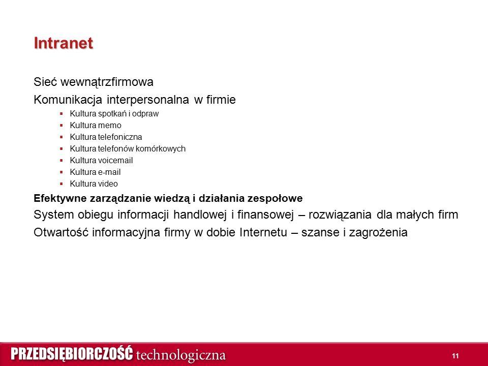 11 Intranet Sieć wewnątrzfirmowa Komunikacja interpersonalna w firmie  Kultura spotkań i odpraw  Kultura memo  Kultura telefoniczna  Kultura telef