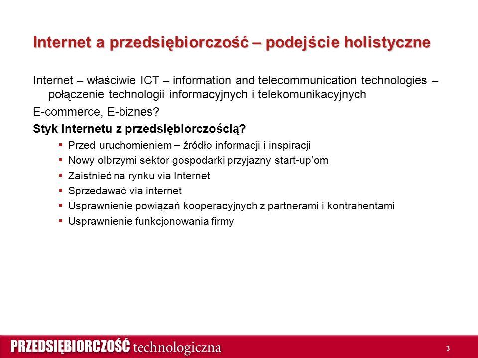 3 Internet a przedsiębiorczość – podejście holistyczne Internet – właściwie ICT – information and telecommunication technologies – połączenie technologii informacyjnych i telekomunikacyjnych E-commerce, E-biznes.