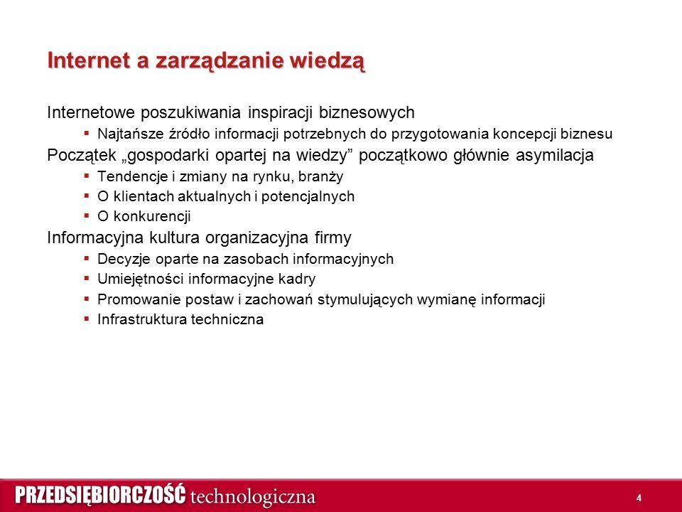 4 Internet a zarządzanie wiedzą Internetowe poszukiwania inspiracji biznesowych  Najtańsze źródło informacji potrzebnych do przygotowania koncepcji b