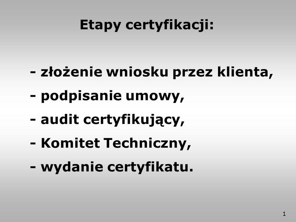 1 Etapy certyfikacji: - złożenie wniosku przez klienta, - podpisanie umowy, - audit certyfikujący, - Komitet Techniczny, - wydanie certyfikatu.