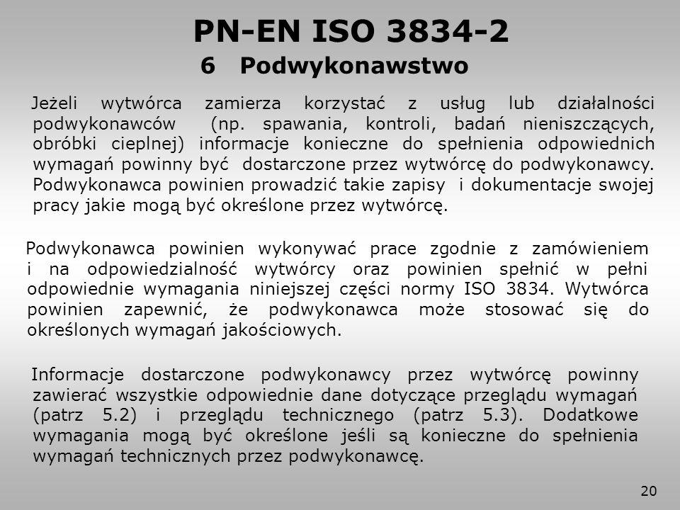 20 6 Podwykonawstwo PN-EN ISO 3834-2 Jeżeli wytwórca zamierza korzystać z usług lub działalności podwykonawców (np. spawania, kontroli, badań nieniszc