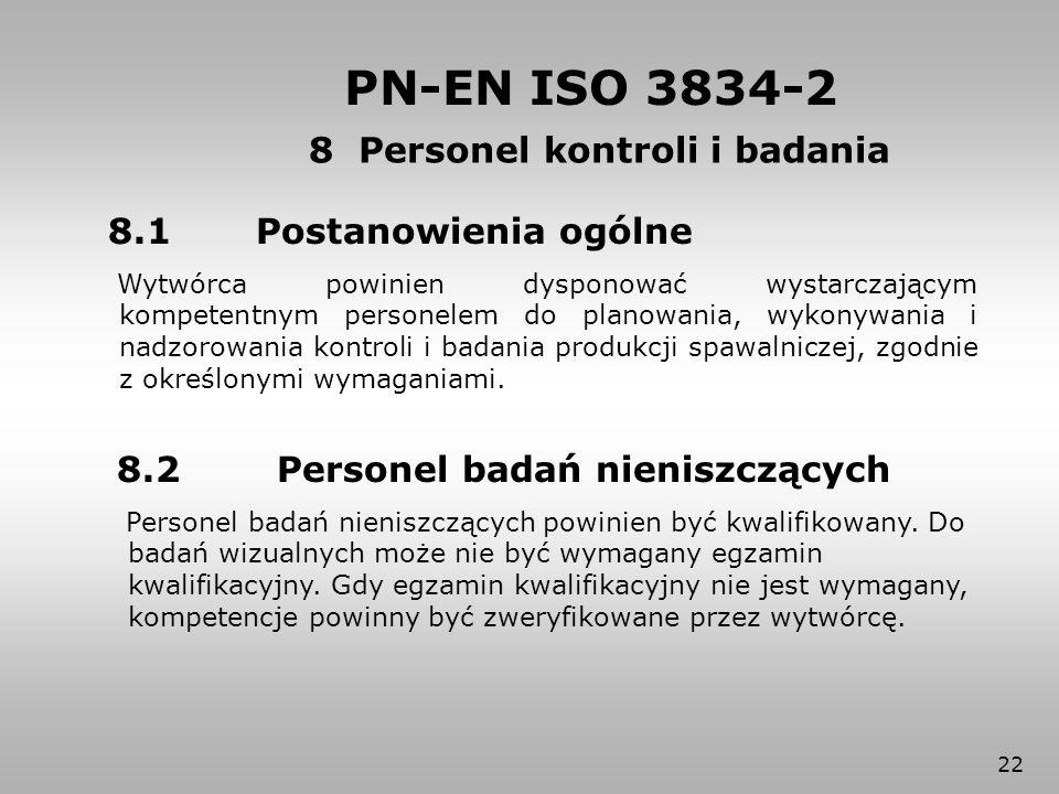 22 8.1 Postanowienia ogólne Wytwórca powinien dysponować wystarczającym kompetentnym personelem do planowania, wykonywania i nadzorowania kontroli i b