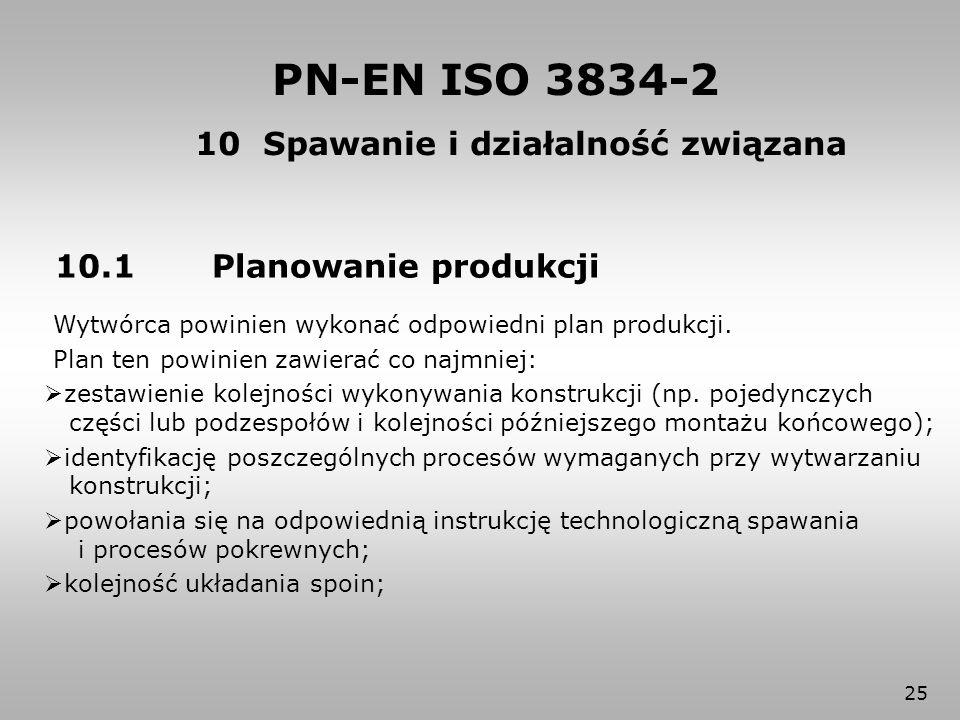 25 PN-EN ISO 3834-2 10.1 Planowanie produkcji Wytwórca powinien wykonać odpowiedni plan produkcji. Plan ten powinien zawierać co najmniej:  zestawien
