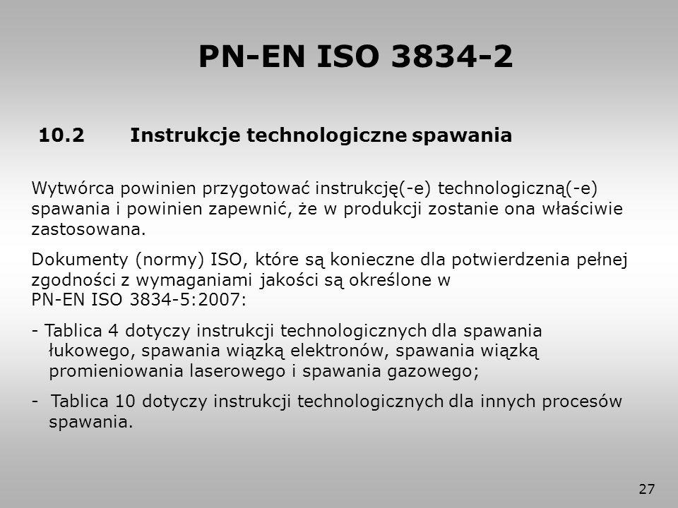 27 PN-EN ISO 3834-2 10.2 Instrukcje technologiczne spawania Wytwórca powinien przygotować instrukcję(-e) technologiczną(-e) spawania i powinien zapewn