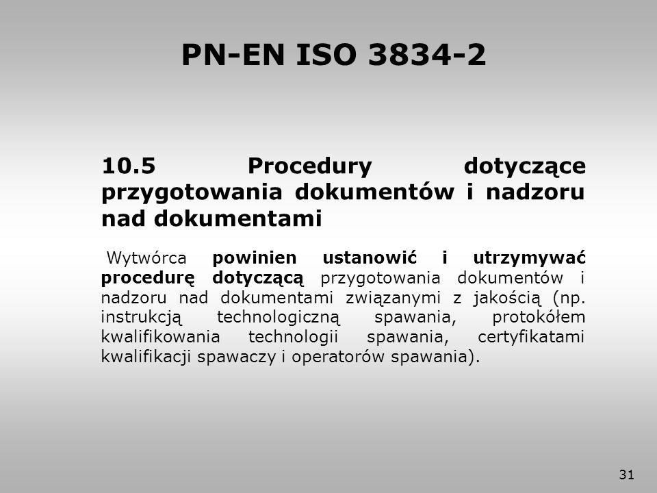 31 10.5 Procedury dotyczące przygotowania dokumentów i nadzoru nad dokumentami Wytwórca powinien ustanowić i utrzymywać procedurę dotyczącą przygotowa