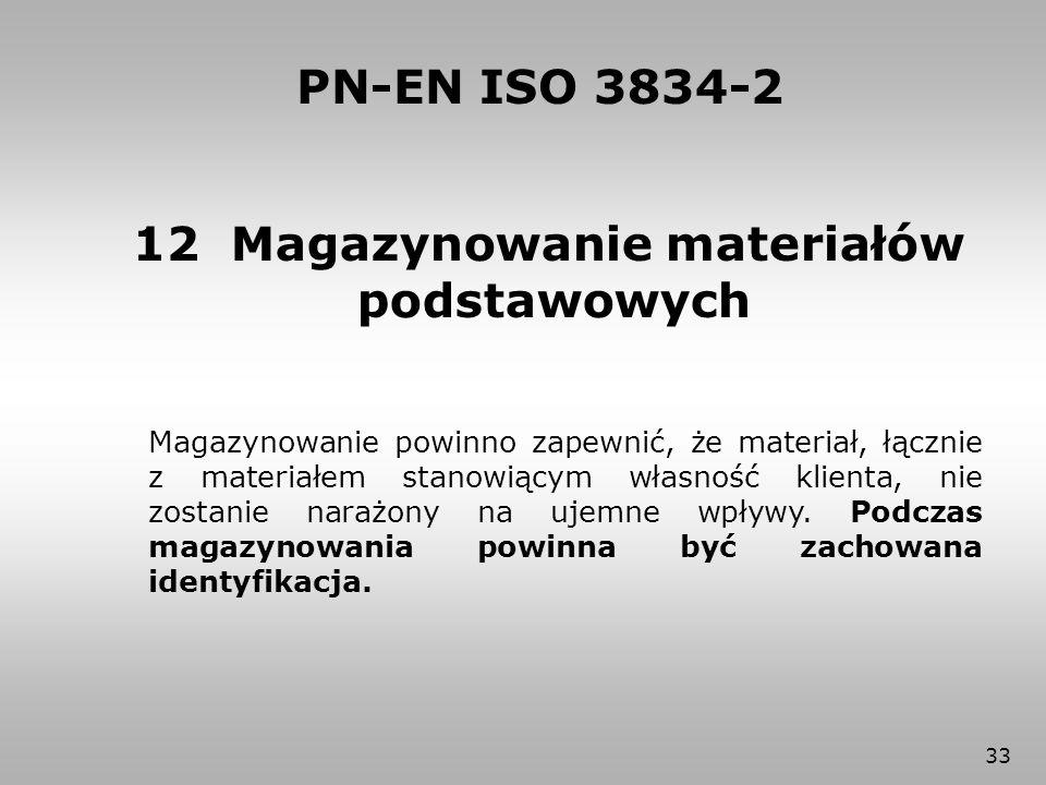 33 12 Magazynowanie materiałów podstawowych PN-EN ISO 3834-2 Magazynowanie powinno zapewnić, że materiał, łącznie z materiałem stanowiącym własność kl