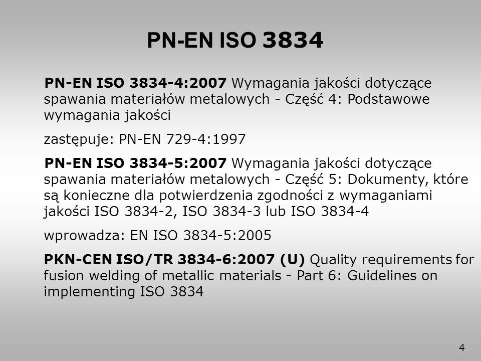 45 PN-EN ISO 3834-5 2.1 Postanowienia ogólne Wytwórca, który potwierdza zgodność z wymaganiami jakości ISO 3834-2, ISO 3834-3 lub ISO 3834-4 zobowiązany jest do zgodności z dokumentami ISO wyszególnionymi w 2.2 lub innymi dokumentami, zawierającymi równorzędne warunki techniczne, jeśli te dokumenty zalecane są normą wyrobu dla konstrukcji, które wytwórca wytwarza.