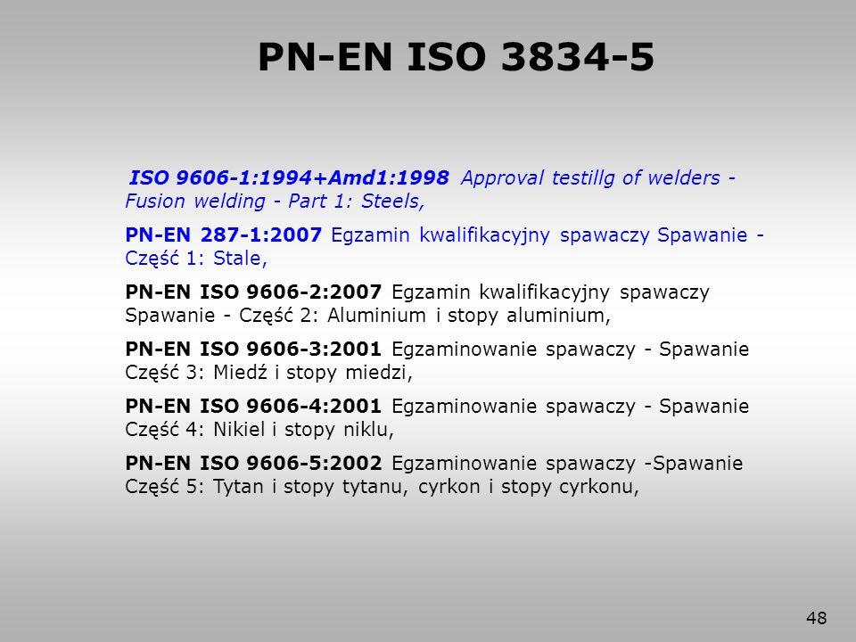48 ISO 9606-1:1994+Amd1:1998 Approval testillg of welders - Fusion welding - Part 1: Steels, PN-EN 287-1:2007 Egzamin kwalifikacyjny spawaczy Spawanie