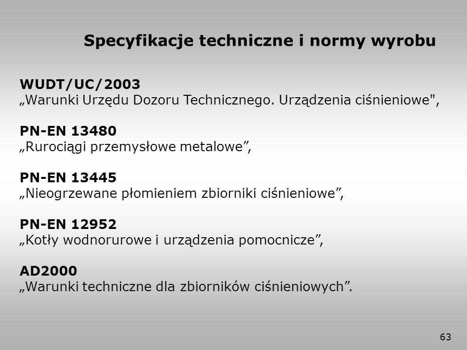 """63 Specyfikacje techniczne i normy wyrobu WUDT/UC/2003 """"Warunki Urzędu Dozoru Technicznego. Urządzenia ciśnieniowe"""