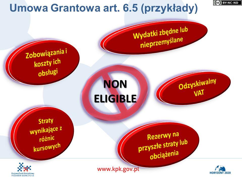 NON ELIGIBLE Umowa Grantowa art. 6.5 (przykłady)